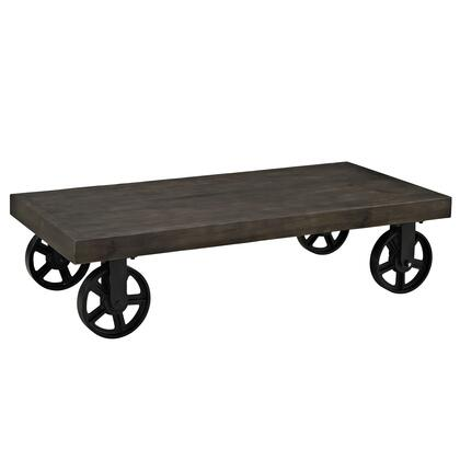 Modway EEI-1206 Garrison Wood Top Coffee Table with Industrial Modern Design, Solid Pine Wood Rectangular Top, and Four Wheel Metal Base