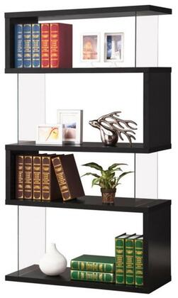 "Coaster Bookcases 35.5"" Asymmetrical Snaking Bookshelf with 4 Shelves, Rectangular Shape, Glass Panel Sides, Clean Lines and Wood Construction in"