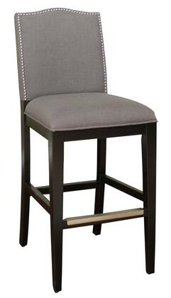 American Heritage Chase Series 893BLKSMK Transitional Stool with Mortise and Tenon Construction and Adjustable Leg Levelers Finished in Black with Smoke Linen Upholstery