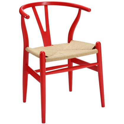 Modway EEI552RED Amish Series Armchair Wood Frame Accent Chair