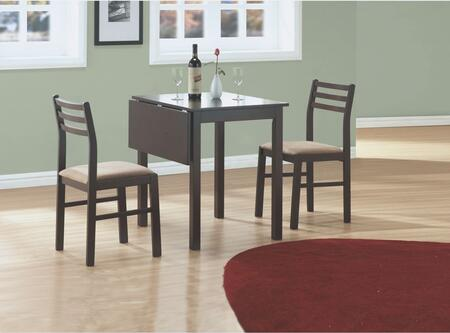Monarch I 107 Three Piece Dining Room Set, with Drop Leaf Table, 2 Chairs, and All Wood Table Top