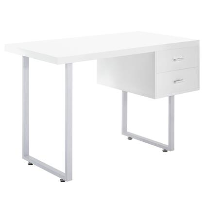 Modway EEI-1184 Turn Office Desk with Modern Design, Two Storage Drawers, Powder-coated Aluminum Frame, High Gloss Finish, and Durable Fiberboard Construction