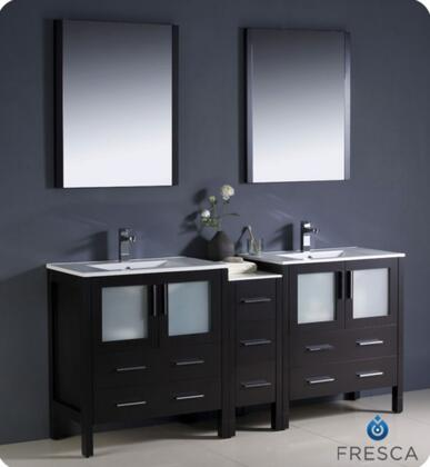 "Fresca Torino Collection FVN62-301230XX-UNS 72"" Modern Double Sink Bathroom Vanity with Side Cabinet, 2 Integrated Sinks and 4 Frosted Glass Panel Soft Closing Doors in"