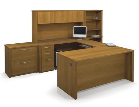 Bestar Furniture 60877 Embassy U-shaped worksation kit including assembled pedestals