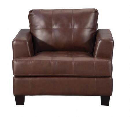 Coaster 504073 Samuel Series Bonded Leather Armchair with Wood Frame in Dark Brown