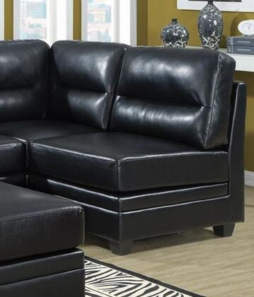 Monarch I8301BK Bonded Leather Sectional with Wood Frame in Black