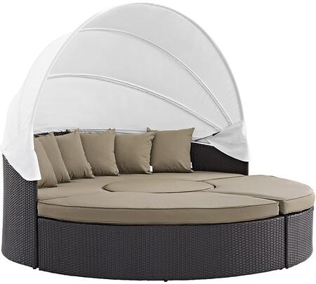 """Modway Convene EEI2173EXP 86.5"""" Canopy Outdoor Patio Daybed with Coffee Table, Ottoman, Throw Pillows, Fabric Cushion, Powder Coated Aluminum Tube Frame, UV and Water Resistant in Espresso and"""