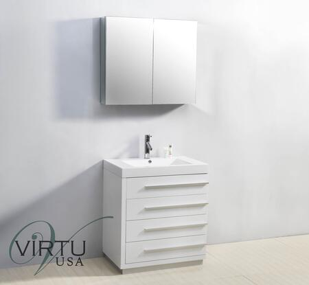 "Virtu USA Bailey JS50530 30"" Single Sink Bathroom Vanity with White Polymarble Top, 4 Drawers, PS-103 Faucet, 1.2"" Faucet Hole, Satin Nickel Hardware, and Mirror Cabinet Included in"