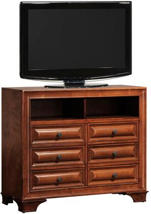 "Glory Furniture 42"" Media Chest with 6 Drawers, Bracket Feet, Silver Metal Hardware, Dovetailed Drawer, Solid Wood Construction and Veneer Surfaces in"