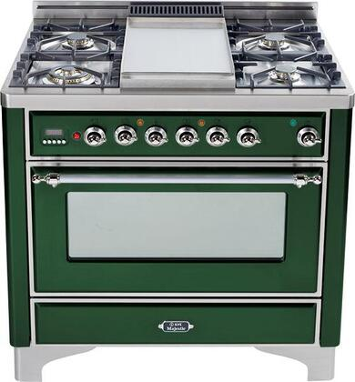 "Ilve UM906MPVSX 36"" Majestic Series Dual Fuel Freestanding Range with Sealed Burner Cooktop, 2.8 cu. ft. Primary Oven Capacity, Warming in Emerald Green"