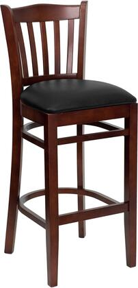 "Flash Furniture HERCULES Series XU-DGW0008BARVRT-MAH-XXV-GG 31"" Mahogany Finished Vertical Slat Back Wooden Restaurant Bar Stool with Vinyl Seat, Commercial Design, and Plastic Floor Glides"