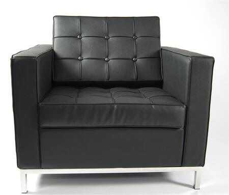 Fine Mod Imports FMI2201BLACK Button Series Leather Armchair with Stainless Steel Frame in Black