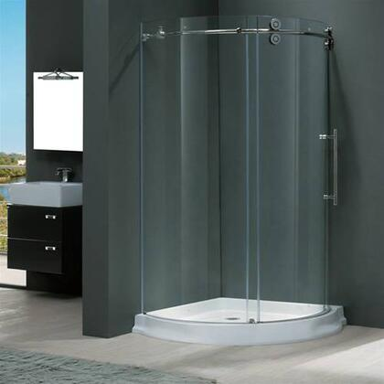 "Vigo VG6031XXCL40WR 40"" x 40"" Frameless Round 5/16"" Shower Enclosure Right Sided Door with White Base:"