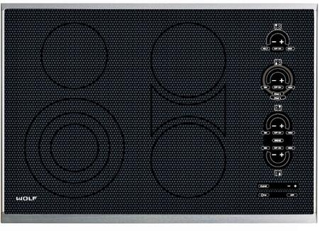 """Wolf CT30E 30"""" Electric Cooktop with Ceran Ceramic Glass Surface, Pulsation Technology, True Simmer, Touch Controls, 4 Heating Elements and 7 Zones:"""