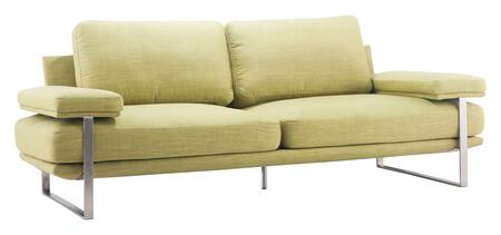 """Zuo 90062 Jonkoping Collection 89"""" Sofa with Brushed Stainless Steel Frame, and Polyblend Upholstery"""