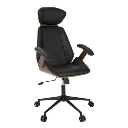 """LumiSource Spectre OC-SPEC WL 47"""" - 51"""" Office Chair with PU Leather Upholstery, Walnut Wood Back and Casters in"""