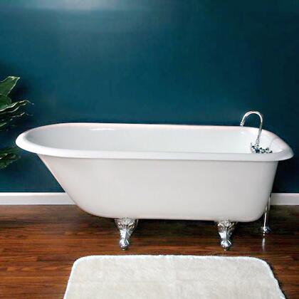 """Cambridge RR617DH Cast Iron Rolled Rim Clawfoot Tub 61"""" x 30"""" with 7"""" Deck Mount Faucet Drillings"""
