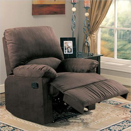 """Coaster 35"""" Recliner with Reclining Mechanism, External Handle, Pillow Top Arms, Broad Pillow Back, Cradle Legs and Microfiber Upholstery  in"""