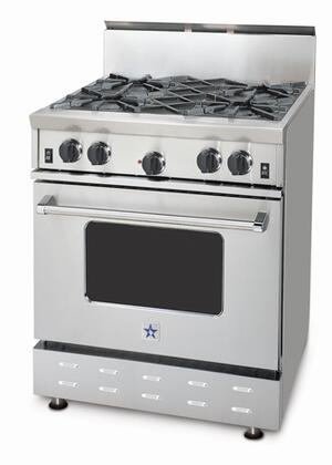 BlueStar RNB304BV1NG  Natural Gas Freestanding Range with Open Burner Cooktop, 4.5 cu. ft. Primary Oven Capacity, in Stainless Steel
