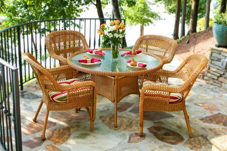 Tortuga Portside PSD-AMX 5-Piece Dining Set with Round Table and 4 Chairs in Amber with X Cushions