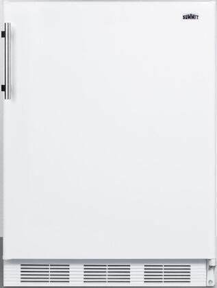 "Summit FF61BIX 24"" ADA Compliant Freestanding or Built In Compact Refrigerator with 5.5 cu. ft. Capacity, Wine Shelf, Crisper, Door Storage, Glass Shelves and Interior Lighting:"