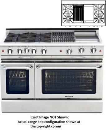 """Capital Culinarian Series COB482BG2-X 48"""" Freestanding Dual Fuel Electric Range with 4 Open Burners, Primary 4.6 Cu. Ft. Oven Cavity, Secondary 2.1 Cu. Ft. Oven Cavity, and Moto-Rotis, in Stainless Stee"""