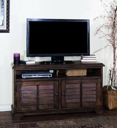 "Sunny Designs 3497AC-X Savannah X"" TV Console with Double Shuttered Cabinet Doors, Storage Shelves, Two Storage Drawers, in Antiqued Dark Wood Finish"