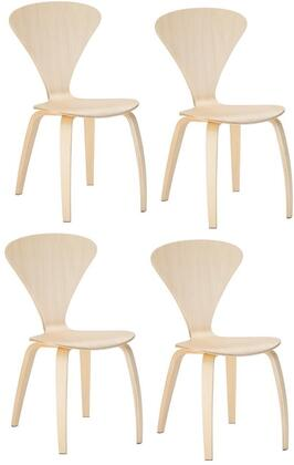 "EdgeMod Sofia Collection 33"" Set of 4 Side Chairs with Mid-Century Design, Plywood Seat and Tapered Legs in"