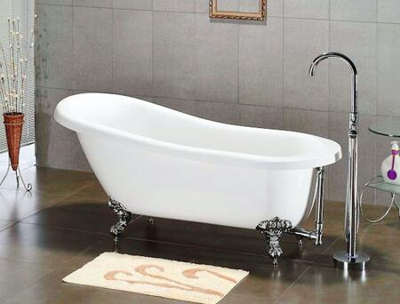 "Cambridge AST677DH Acrylic Slipper Bathtub 67"" x 30"" with 7"" Deck Mount Faucet Drillings"