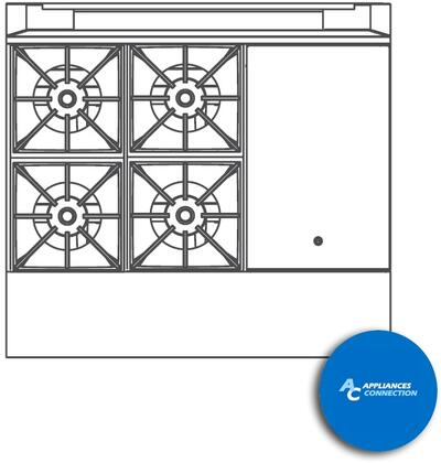 """Southbend P36BBH Platinum Series 36"""" Combination Top with Four Open Top Burners and One Hot Top, Up to 172000 BTUs (NG/LP)"""