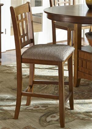 Liberty Furniture Santa Rosa Pub Collection 25-BS86XX Mission Barstool with Nylon Chair Glides, Stretchers and Padded Upholstered Seat in Mission Oak Finish