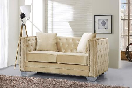 """Meridian Reese 648-L 64"""" Loveseat with Top Quality Velvet Upholstery, Unique Curved Design and Silver Nail Heads in"""