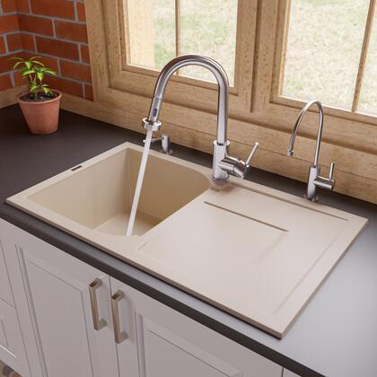 "Alfi AB1620DI-XX 34"" Single Bowl Kitchen Sink with Drain board, Granite Composite and Drop-In Installation Hardware in"