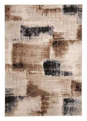 Milo Italia Isaias RG424750TM X Size Rug with Brushstroke Design, Machine-Woven, Polypropylene Material, Backed with Latex and Jute in Brown and Black Color