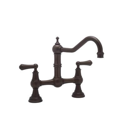 Rohl U.4751L--2 Perrin and Rowe Collection Bridge Kitchen Cast Spout Mixer With Metal Levers, California AB 1953 and Vermont S152 Compliant: