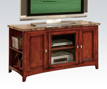 """Acme Furniture Finely Collection 48"""" TV Stand with Glass Door, Faux Marble Top, Foldable Setup, Adjustable Shelf, Poplar and Basswood Veneer Materials"""