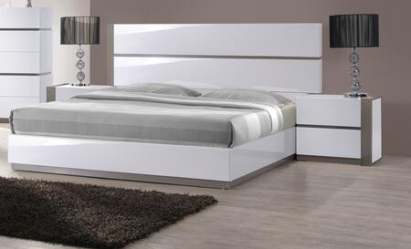 Chintaly MANILABED MANILA Bed with Headboard, Footboard, Side Rails and Slats in Gloss White & Grey Finish