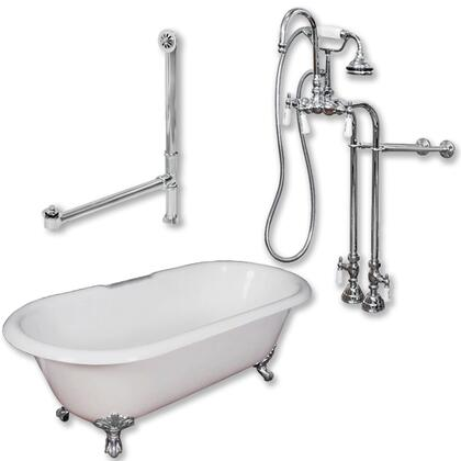 """Cambridge DE60398684PKG Cast Iron Double Ended Clawfoot Tub 60"""" x 30"""" with no Faucet Drillings and Complete Free Standing English Telephone Style Faucet with Hand Held Shower Assembly Plumbing Package"""