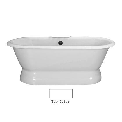 "Barclay CTDRN66B Cromwell 66"" Cast Iron Double Roll Tub with Structured Base and White Enamel Interior, in"