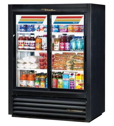 True GDM-33C Pass-Thru Refrigerator Merchandiser with LED Lighting, and Thermal Insulated Glass Sliding-Doors in Black