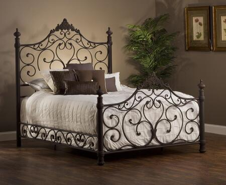 Hillsdale Furniture 1742B Baremore Poster Bed with Rails, Turned Posts, Tubular Steel Construction, Scrolled and Romantic Design in Weathered Dark Brown Finish