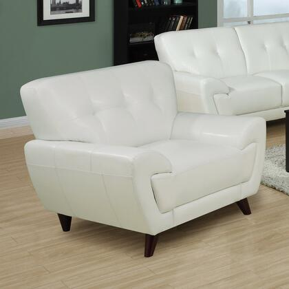 Monarch I8801WH Accent Leather Wood Frame Accent Chair