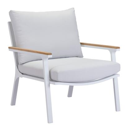 "Zuo 70357 Maya Beach Collection 30"" Arm Chair with Aluminum Frame, Teak Trimmed Armrests, and Removable Cushion"