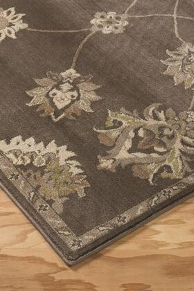"Signature Design by Ashley Adelina R40184 "" x"" Size Rug with Floral Motif Design, Machine-Woven, 6mm Pile Height, Spot Clean Only and Polypropylene Material in Taupe Color"
