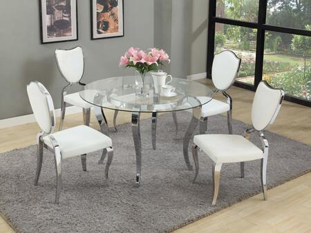 """Chintaly LETTY5PCXX48 LETTY DINING 48"""" Glass Top Table 5Pc Set with 4 Shield Back Cabriole Designed Legs Chairs"""