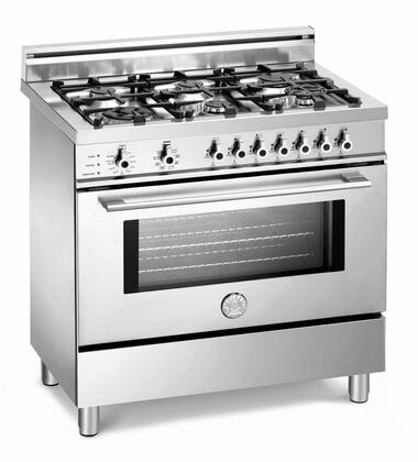 Bertazzoni X366GGVXLP Professional Series Gas Freestanding Range with Sealed Burner Cooktop, 3.6 cu. ft. Primary Oven Capacity, Storage in Stainless Steel