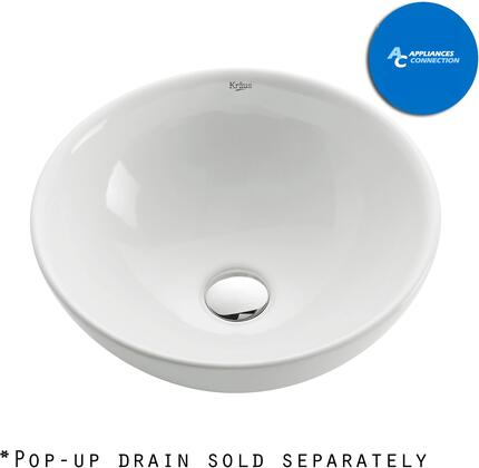 Kraus CKCV1411002 White Ceramic Series Sink and Faucet Bundle with Round Ceramic Vessel Sink with Sheven Faucet