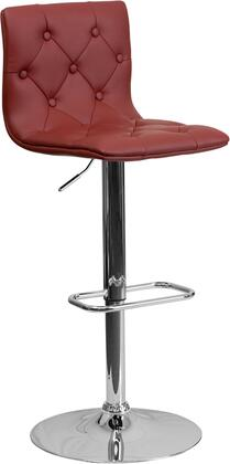 """Flash Furniture 35.25"""" - 43.75"""" Bar Stool with Gas Lift Adjustable Height, Swivel Seat, Chrome Base, Foot Rest, Button Tufted Covering and Vinyl Upholstery"""