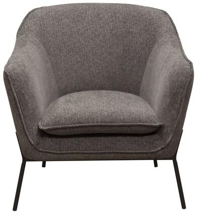 "Diamond Sofa Status Collection 34"" Accent Chair with Flared Arms, Piped Stitching, Black Powder Coated Metal Legs and Fabric Upholstery in"