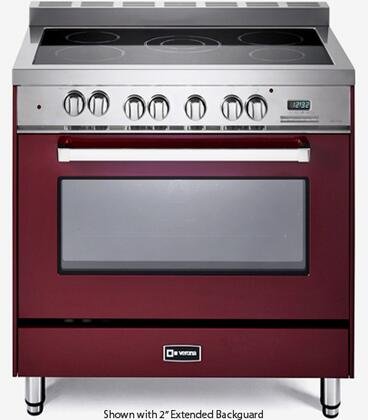 """Verona VEFSEE365 36"""" Electric Range with 4 cu. ft. European Convection Oven, Black Ceramic Glass Cooktop, 5 Elements, Dual Center Element, Chrome Knobs and Handle"""